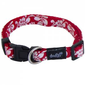 Collier chien nylon Tahiti rouge