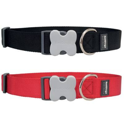 Collier réglable Red Dingo Basic rouge - Gros chiens