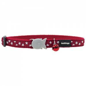 Collier Red Dingo Chats Fantaisie Rouge étoiles blanches
