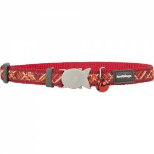 "Collier Red Dingo Chats Fantaisie ""Flanno"" rouge"