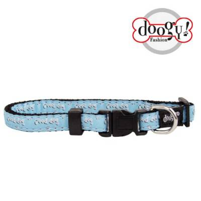 "Collier nylon fantaisie Doogy bleu ""Good Dog"""