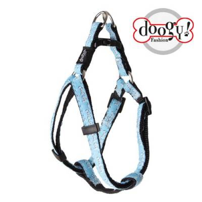 "Harnais nylon fantaisie Doogy bleu ""Good Dog"""